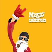Vector biker santa claus with smoking pipe Stock Illustration