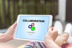 Collaboration concept on a tablet Stock Photos