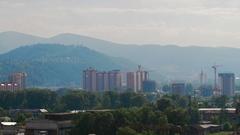 Summer Sun City Sunset Mountain Cityscape Stock Footage