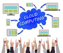 Cloud computing concept pointed by several fingers Stock Photos
