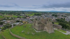 The old ruins of the Dunguaire Castle in Ireland Stock Footage