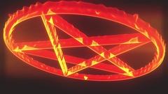 4K Pentagram on Fire Magic Symbol 3D Animation 3 Stock Footage