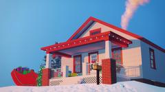 House decorated for Christmas Close up Stock Illustration