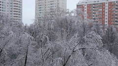 City after heavy ice rain Stock Footage