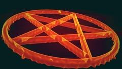 4K Pentagram on Fire Magic Symbol 3D Animation 6 Stock Footage