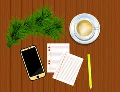 Top view on smartphone, pencil, fir twigs and cup of coffee on Stock Illustration