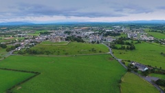 The aerial view of the Rock of Cashel castle in Ireland Stock Footage
