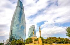 Flame towers and mosque, Baku, Azerbaijan Stock Photos