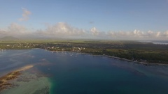 Aerial bird eye view of coast with sand beach and transparent water of Indian Stock Footage