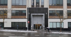 Wintery Establishing Shot of Typical Manhattan Office Building  	 Stock Footage