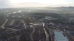 Misty morning aerial view of Old Hill, West Midlands. Stock Footage