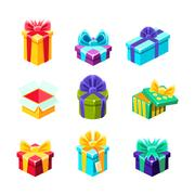 Gift Boxes With And Without A Present Inside Decorative Wrapped Cardboard Boxes Stock Illustration
