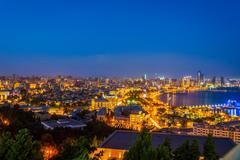 View over Baku at night, Azerbaijan Stock Photos
