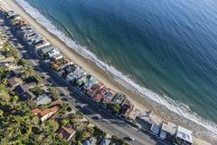 Malibu Beach Homes and Pacific Coast Highway Aerial Stock Photos