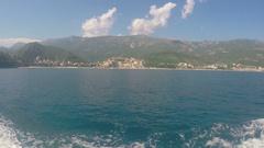 Budva, Montenegro -June 28 2016: Adriatic Sea and mountains Stock Footage