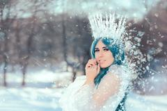 Snow Queen in Winter Fantasy Landscape Stock Photos