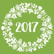 2017 New Year white vector wreath on green background Stock Illustration