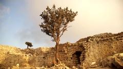 Monolithos Caste Ruins in the dusk. Rhodes, Greece Stock Footage