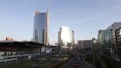 Garibaldi financial district, Milan Stock Footage