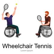 Disabled people On Wheelchair Play Tennis Sport Competition Vector Piirros
