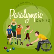 Disable Handicap Sport Paralympic Games Stick Figure Pictogram Icons Stock Illustration