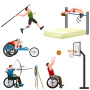 Sport for people with prosthesis, physical activity and competition  invali.. Stock Illustration