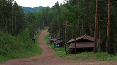 Tourist village on the slope of the Mountain Stock Footage