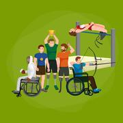 Sport for people with prosthesis, physical activity and competition for inv.. Stock Illustration