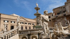 Detail of  Piazza Pretoria, also known as square of Shame. Palermo , Italy Stock Footage