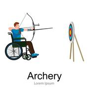 Disabled people On Wheelchair aims and shoots a bow, disability sport vector Piirros