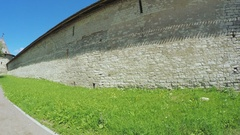 Passage in wall of fortress of Pskov Kremlin Stock Footage
