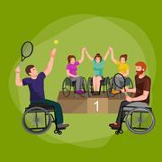 Disable Handicap Sport Games Stick Figure Pictogram Icons Stock Illustration