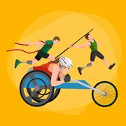 Disabled athlete with prosthesis isolated concept, sport for people  , phys.. Stock Illustration