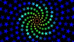 Pulsing Fibonacci Colorful Spiral Stars Pattern Motion Background Loop 4 Stock Footage