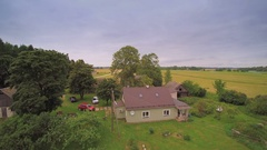View of the side of the small cabin house in Ireland Stock Footage