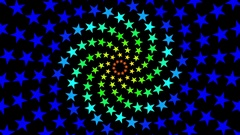 Pulsing Fibonacci Colorful Spiral Stars Pattern Motion Background Loop 1 Stock Footage