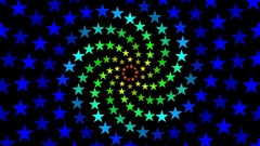 Pulsing Fibonacci Colorful Spiral Stars Pattern Motion Background Loop 3 Stock Footage