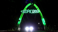 Car at the Tropicana Club gate by night. Havana, Cuba Stock Footage