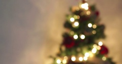 Golden abstract blinking blurred Christmas tree lights bokeh Stock Footage