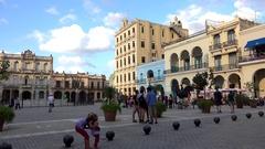 Plaza Vieja in the Old Havana (La Habana Vieja). Cuba Stock Footage