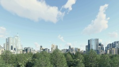 Modern city district with green park zone 4K Stock Footage