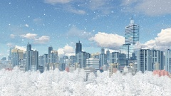 Modern big city with park zone at snowfall 4K Stock Footage