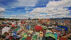 Upper View of Vietnamese Resort City Roofs Streets Stock Footage