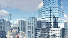 Modern high rise buildings at snowfall day 4K Stock Footage