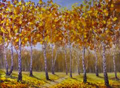 Road in a birch grove, fallen autumn leaves Stock Illustration