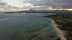 Aerial view of coast line of Mauritius Island Stock Footage