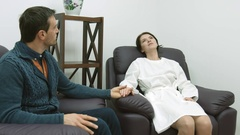 Couple resting in IVF clinic after embryo transfer Stock Footage