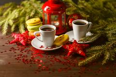 Cookies from puff pastry with jam on the background of Christmas decoration.. Stock Photos