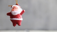 Grey Christmas background with copy space and Santa Claus Stock Footage