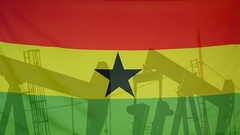 Ghana flag slow motion oil production concept Stock Footage